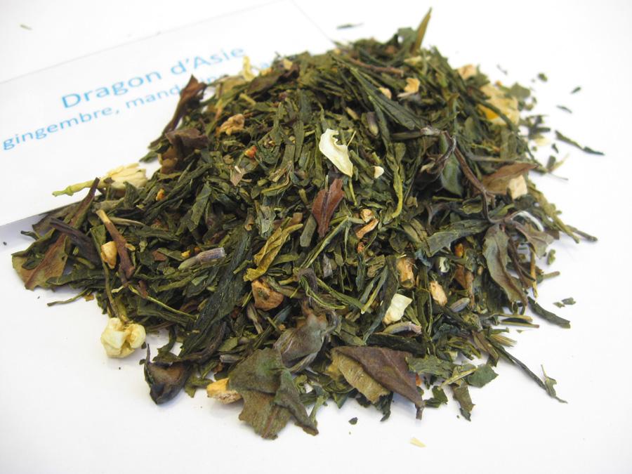 Dragon d'Asie - Thé vert aromatisé mangue, mandarine, gingembre - en aparthé