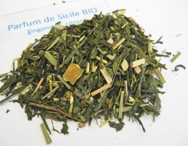 Parfum de sicile BIO - Thé vert aromatisé citron et gingembre - en aparthé
