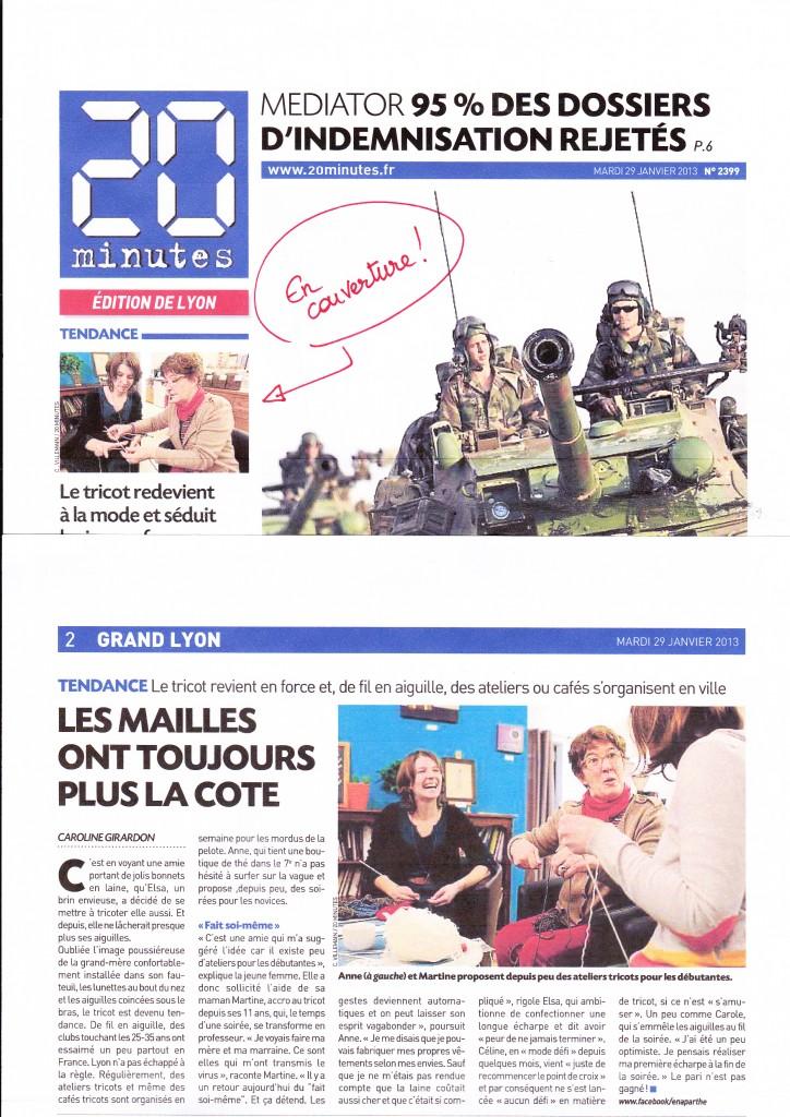 20minutes (journal gratuit) - décembre 2013 - en aparthé - article de presse