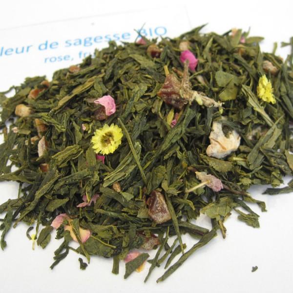Fleur de Sagesse BIO - Thé vert aromatisé rose fruitée - en aparthé