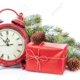 Christmas clock, gift box and snow fir tree. Isolated on white background
